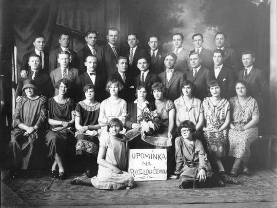 A Slovak group assembles in Binghamton, around 1925.
