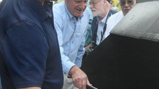 In this 2012 file photo, Maryland Gov. Martin O'Malley flipped steaks on the grill with U.S. Sen. Tom Harkin during the 35th Harkin Steak Fry in Indianola.