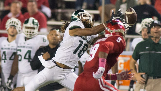 Michigan State receiver Felton Davis III can't quite catch up to a pass in the second half Saturday at Indiana.