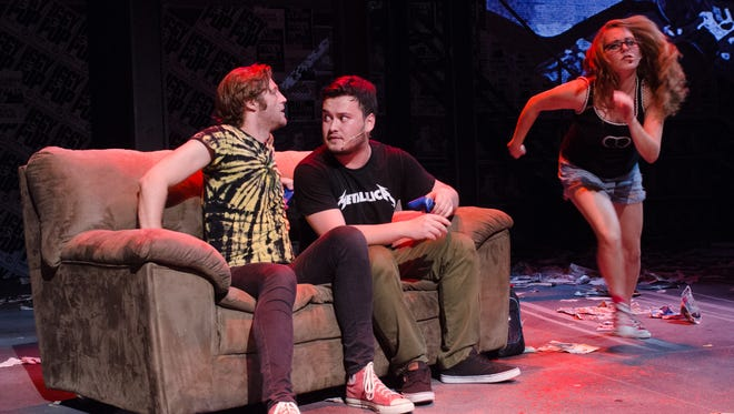 """Stray Cat Theatre's """"American Idiot"""" features (from left) Eric Boudreau, Corey Gimlin and Megan Moylan."""