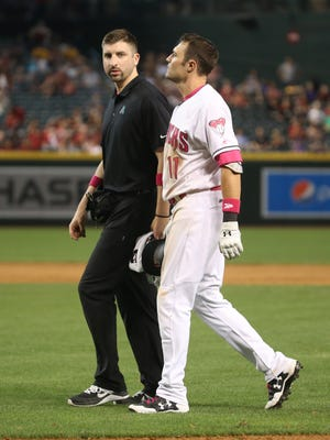 Diamondbacks' A.J. Pollock leaves the 10th inning with a right groin injury.
