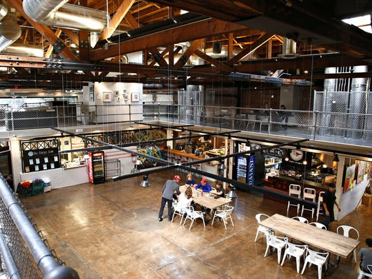 The interior dining area of the DeSoto Central Market