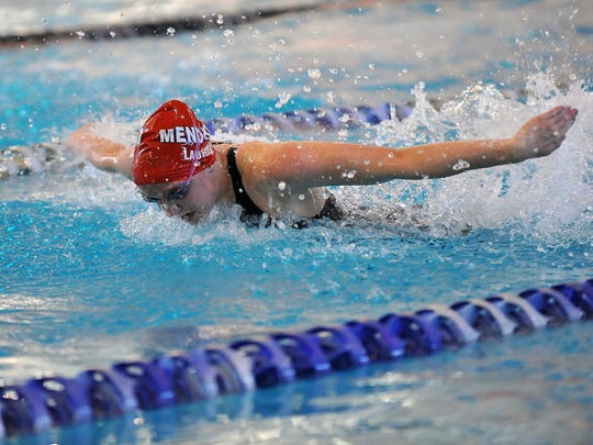 Mendham's Mary Laurita swims the 100 butterfly at the
