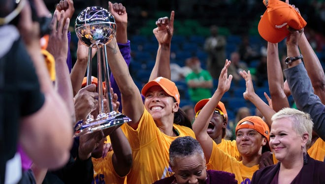 Candace Parker celebrates her first career WNBA title with the Sparks.