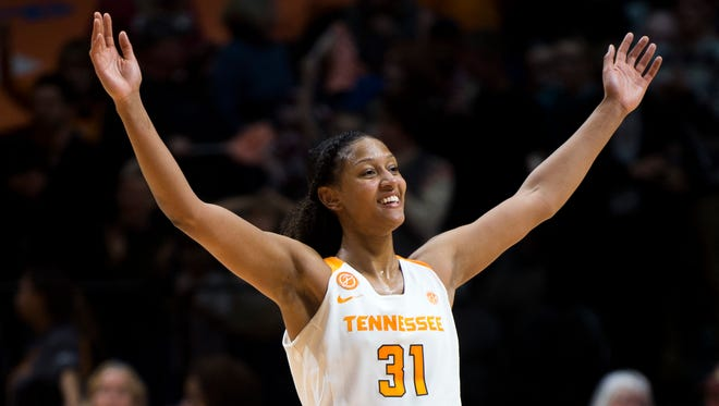 Tennessee's Jaime Nared (31) celebrates her team's win against Stanford at Thompson-Boling Arena on Sunday, Dec. 18, 2016. Tennessee defeated Stanford 59-51.