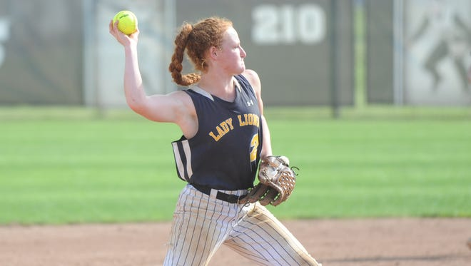 Gloucester's Meghan Ferry throws out a Point Pleasant Beach runner during the Lions' 7-0 Group 1 state softball semifinal win on Thursday at Stockton University. The state final, originally slated for Saturday afternoon, got moved to Sunday at 10 a.m. due to rain.