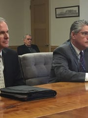 Jason Trout, chief development officer, and Tom Harlow, president of WellSpan Good Samaritan Hospital, discuss their plan to build a wellness center in Lebanon at Thursday's county commissioners' meeting.