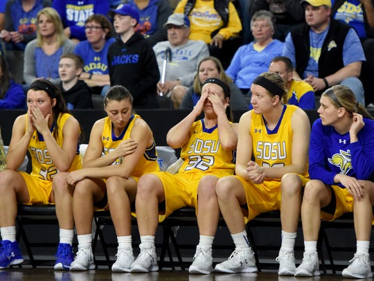 SDSU women react during the last minute in overtime