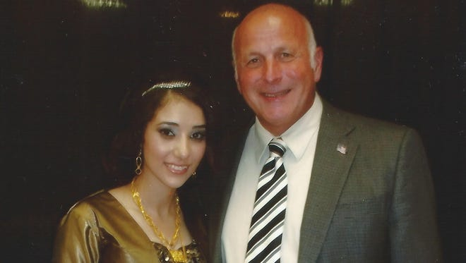Now-Capt. Joseph Barca is pictured with Shammarah Hamideh at her engagement party last year.