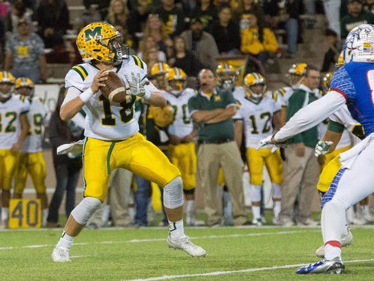 Jacob Moreno, Mayfield's quarterback looks for an opening