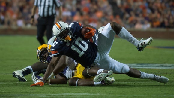 Auburn wide receiver Stanton Truitt (10) powers forward during NCAA football game between Auburn and LSU Saturday, Sept. 24, 2016, at Jordan Hare Stadium in Auburn, Ala.