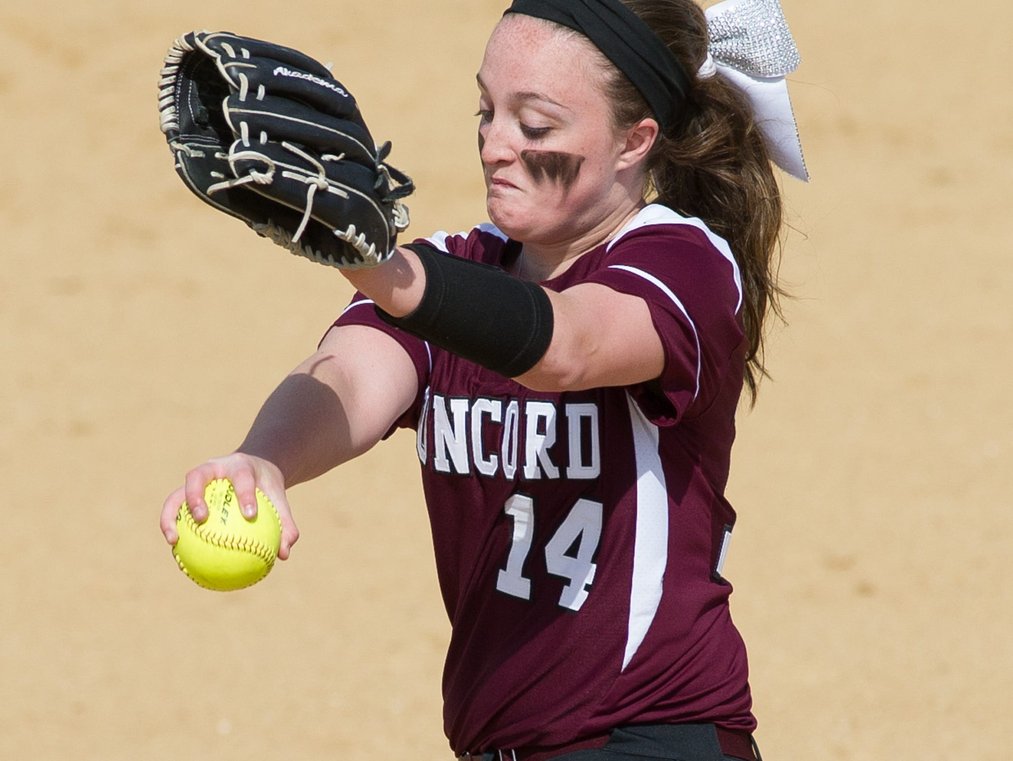 Concord's pitcher Rachel Pritchard (14) in their game against Caesar Rodney.