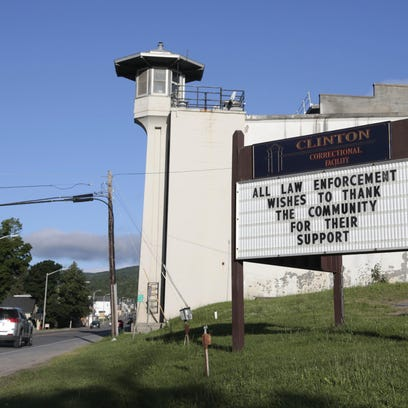 A sign at Clinton Correctional Facility thanks the