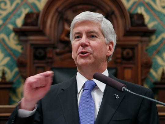 Michigan Gov. Rick Snyder delivers his State of the State address on Tuesday to a joint session of the House and Senate at the state Capitol in Lansing.