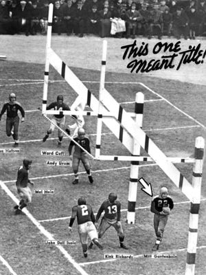 A photo illustration created for the Dec. 11, 1939, Milwaukee Journal shows the first touchdown scored in the NFL Championship Game played at State Fair Park in West Allis. Milt Gantenbein caught a 7-yard pass from Arnie Herber. The Packers won, 27-0.