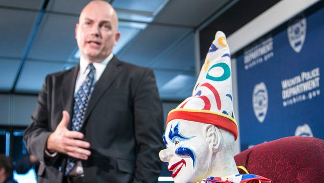 Wichita, Kan., police Detective  Matt Lang discusses on Feb. 19, 2015, the recovery of Joyland's mascot Louie the Clown that disappeared almost a decade ago.