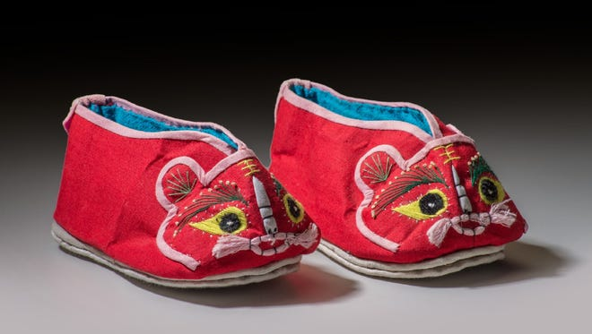 Embroidered cotton Baby Tiger Shoes by unknown artisan