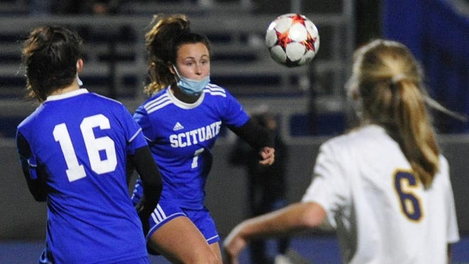 Scituate's Hannah Callanan eyes a loose ball during girls soccer against Hanover at Scituate High School, Tuesday, Oct. 27, 2020. Tom Gorman/For The Patriot Ledger