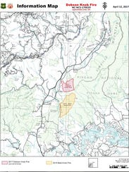 The Dobson Knob fire, burning in McDowell County, was