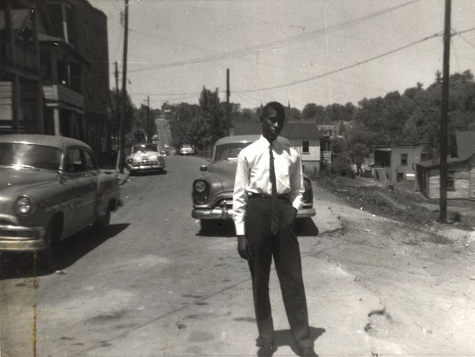 """""""Rabbit"""" Dickson poses in August 1960 on Asheland Avenue"""