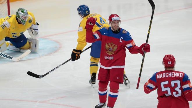 Pavel Datsyuk scores against Sweden on Tuesday.