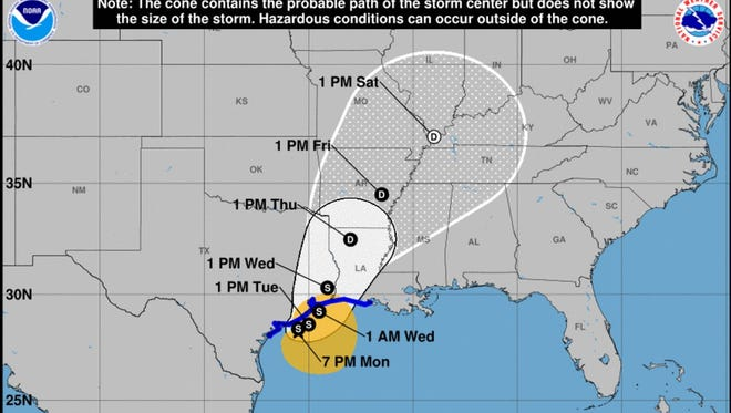 This map from the National Hurricane Center, current as of 7 p.m. on Monday, August 28, shows the possible path of Hurricane Harvey over the next several days.