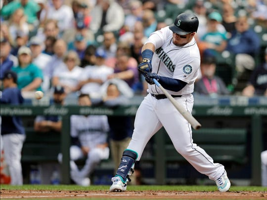 Seattle Mariners' Daniel Vogelbach hits a solo home run against the Kansas City Royals on June 19. The Bishop Verot graduate was named a Major League Baseball All-Star on Sunday.
