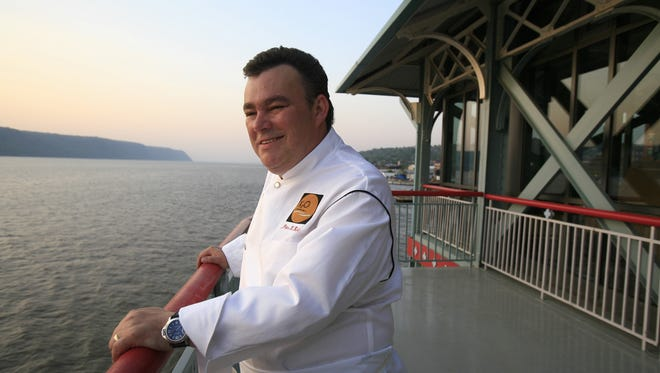 Chef Peter X. Kelly, stands on the outdoor deck of his new restaurant, X2O Xaviars on the Hudson, on the Yonkers Pier at the Hudson River, May 15, 2007. ( Mark Vergari / The Journal News )
