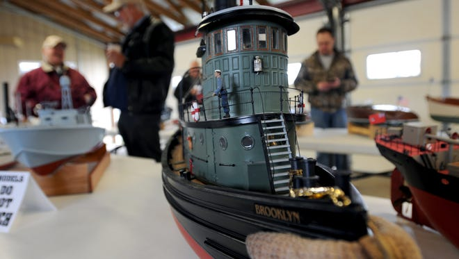 A model boat is displayed Sunday, May 15, at the St. Clair Boat Harbor.