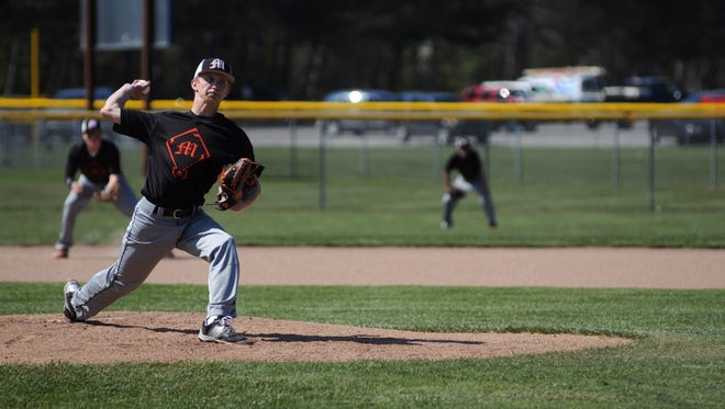 Marine City pitcher Kohle Sobol throws in a pitch Monday, May 23, during a varsity baseball game at Port Huron Northern.