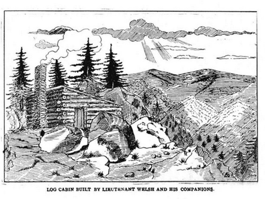 Welsh's hind-built log cabin in Little Bear Wallow (Prowell, History of the 87th Pennsylvania)