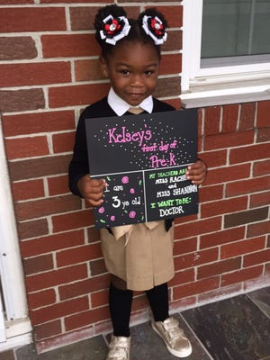 It's official: Kelsey is in pre-K in Vineland.