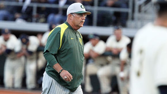 Coach George Horton. Oregon Ducks play against Kent State in the 2012 NCAA Baseball Championship  at PK Park in Eugene Sunday June 10, 2012.