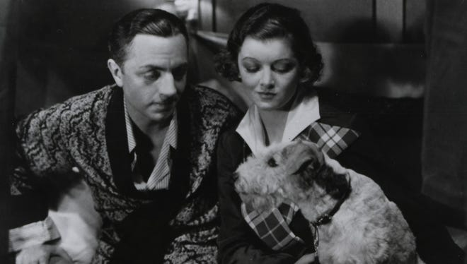 """William Powell, Myrna Loy and Asta in 1934's """"The Thin Man."""""""