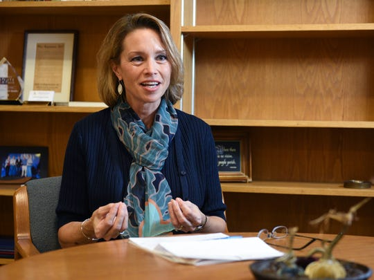 Augustana University President Stephanie Herseth Sandlin explains goals she hopes to a accomplish during her presidency. Appointed in February, Sandlin previously worked as an executive for Raven Industries and served in the U.S. House of Representatives from 2004-2011.