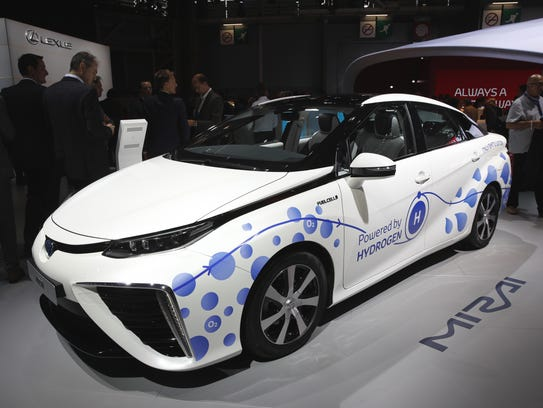 The Toyota Mirai, an hydrogen fuel cell vehicle, is