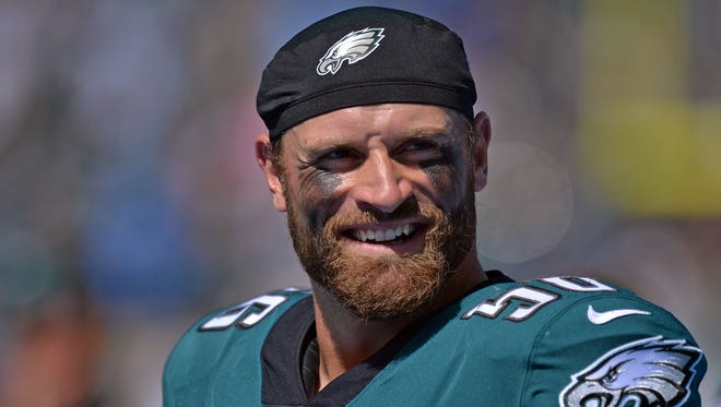 Philadelphia Eagles defensive end Chris Long (56) smiles before the game against the Los Angeles Chargers at StubHub Center.