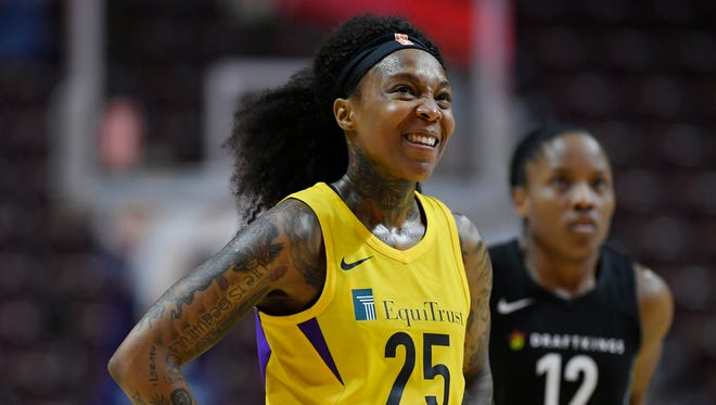 FILE -- Los Angeles Sparks' Cappie Pondexter during a preseason WNBA basketball game, Wednesday, May 8, 2018, in Uncasville, Conn.