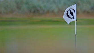 A view of the flag on the 5th hole during a practice round of The Open Championship golf tournament at Carnoustie Golf Links.