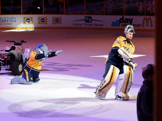 Gnash bows to the success of Predators goalie Pekka Rinne after the team's win over the Ducks in Game 6 on Monday, April 25, 2016, in Nashville, Tenn.