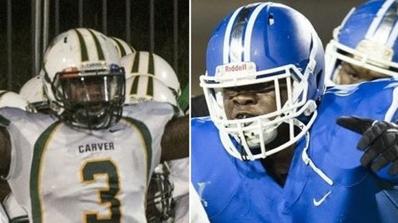 """Carver senior Lyndell """"Mack"""" Wilson and Lanier sophomore Alfred Thomas earned spots on respective Scout.com All-American teams."""