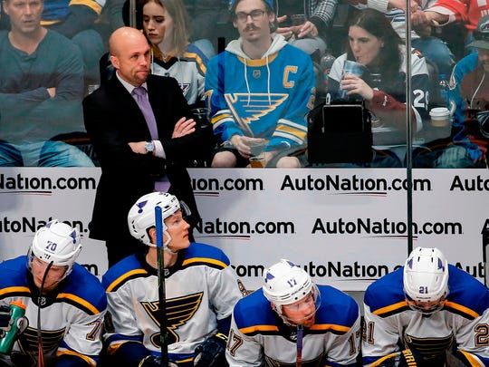 The St. Louis Blues and coach Mike Yeo will be at Wells Fargo Arena on Wednesday to play the Minnesota Wild in an NHL preseason game.