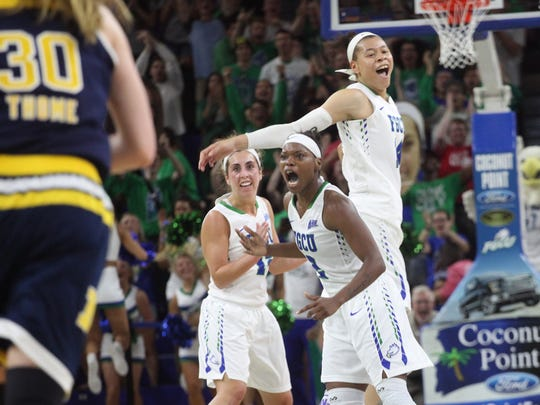 The FGCU Women's basketball team competes with Michigan during the Women's NIT semifinals at Alico Arena on Thursday night.