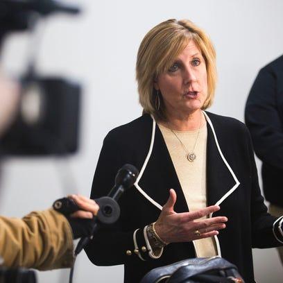 Rep. Claudia Tenney speaks to members of the media