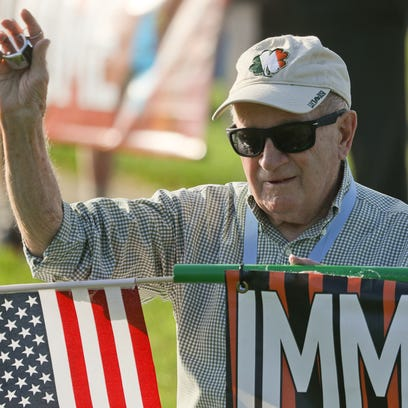 Rev. Jim Flynn, protesting U.S. immigration practices,