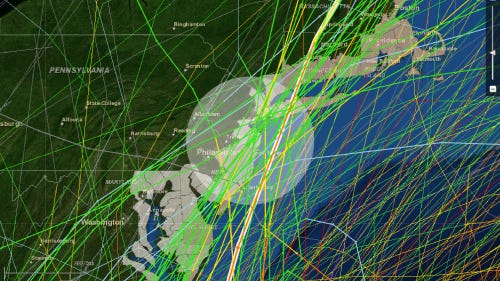 Map of hurricanes, tropical storms and tropical depressions that have hit or come close to New Jersey
