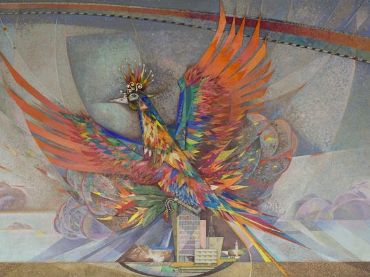 Center panel from Paul Coze mural at Sky Harbor Airport, Terminal 2.