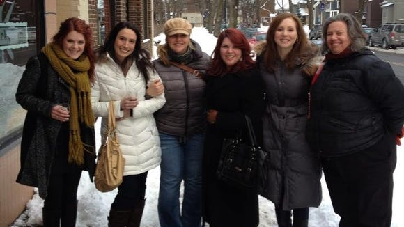 From left, Leah Stacy Wayner, Jenise Fortunato, Anna Valeria-Iseman, Laura Kenyon, Rachel Barnhart and me outside Roam Cafe.