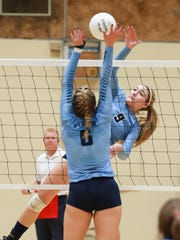 Central Valley Christian's Alyvia Visser (9) spikes
