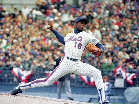 New York Mets Dwight Gooden, pitching against St. Louis Cardinals during Mets opening day for 1985 season, on April 9, 1985 at Shea Stadium in New York.